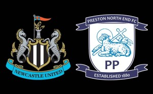Newcastle United v Preston North End Crests Black Background